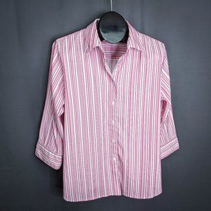 Foxcroft Womens Top Shirt Size 14 Pink Striped